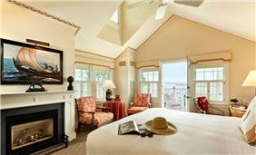 Harborside Hotel Guest Room with Cozy Fireplace